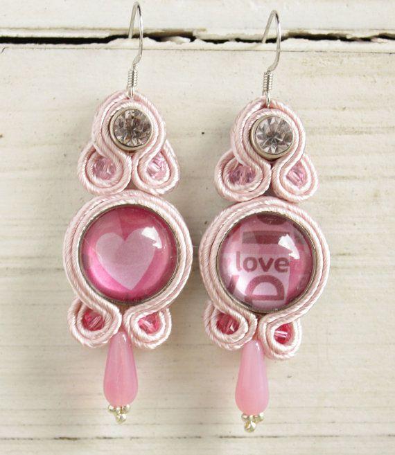Pink soutache earrings by Stoned Cherry