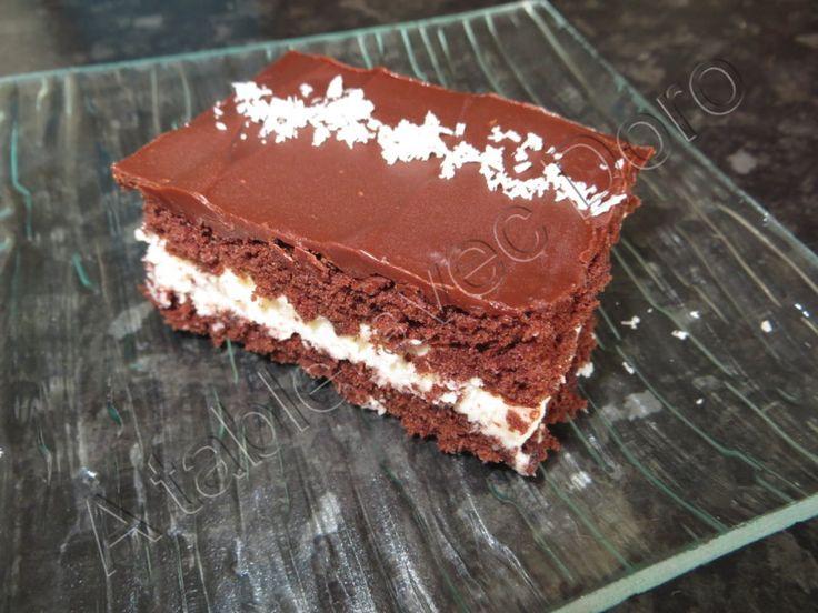 Je cherchais un recette depuis un moment mais rien ne me convenait et puis cette semaine Audreycusine (ma p'tit cuisine by Audrey) a publié cette recette sur son blog,j'ai pris ma recette de génoise chocolat...