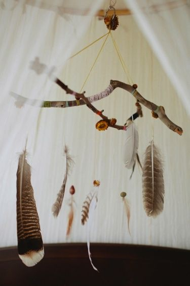 A Boho style feather mobile adds so much to your Bohemian decor: feathers, find sitcks on el dorado