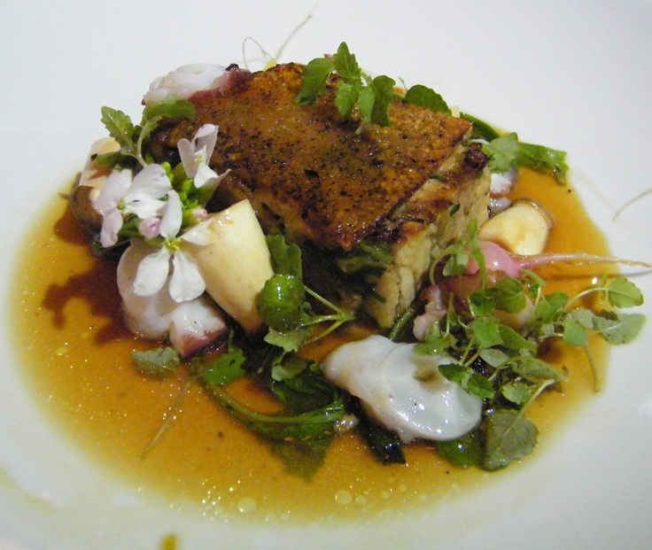Slow-roasted pork shoulder w Berridale Farm turnip & radish & pork infusion
