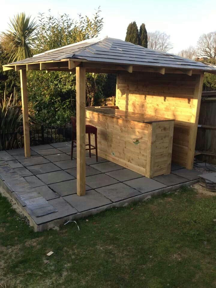 Outside bar deck patio pinterest outside bars and bar for Garden shed bar