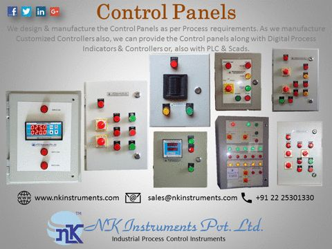Control Panels   Industrial Control Panels are designed and manufactured as per the actual requirement for plant operations. NK Instruments Pvt. Ltd. design and manufacture various type of Indication and Control Panels, which are used for Automation in industries.  www.nkinstruments.com