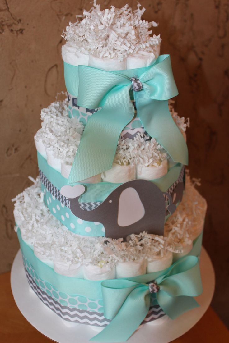 Mint and Gray Chevron Diaper Cake; Neutral Diaper Cake for a boy or girl; Elephant theme baby shower diaper cake