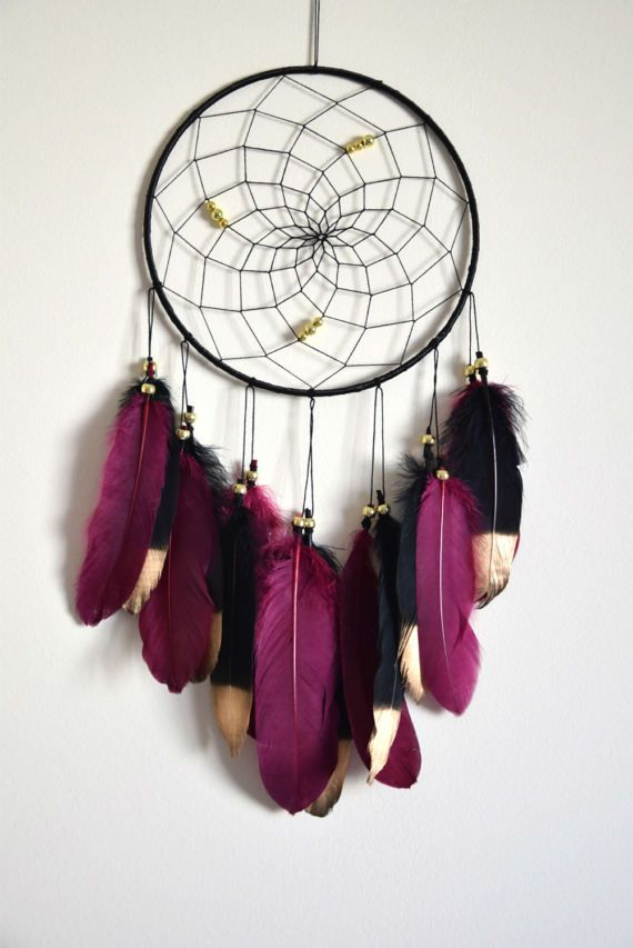 Maroon Black Dream Catcher Decor Bohemian Feather