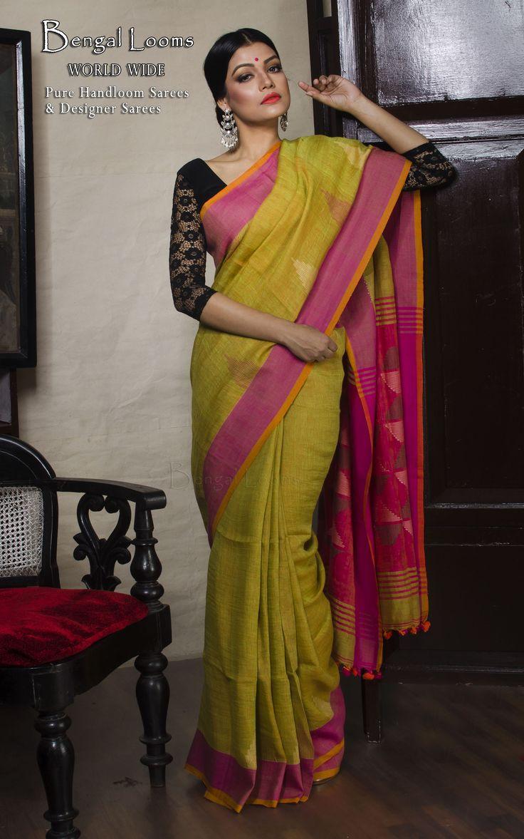 Linen Jamdani Saree in Green and Hot Pink