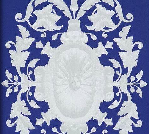 Metallic Emblems on Blue Wallpaper design by Annet Van Egmond