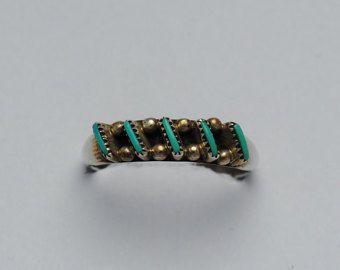 Anillo de turquesa anillo, anillo vintage zuni, navajo, boho, anillo étnico, bohemio, zuni joyas, joyas vintage, indio