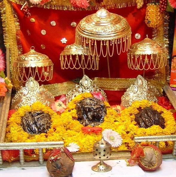 Vaishno Devi- This temple contains three idols of Maha Saraswati, Maha Lakshmi, and Maha Kali, which are all images of Vaishno Devi.Vaishnavi, in the form of a five-and-a-half-foot-tall rock with three heads or the Pindies on the top .  Train link from Udhampur to Katra