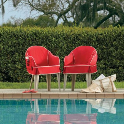 Padded resin chair covers, by Improvements Catalog. What a great idea to dress-up those plastic outdoor chairs!