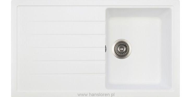 Polka Hansloren zlewozmywak granitowy 1 komora z ociekaczem 500x860 biały - POBO-1WMD