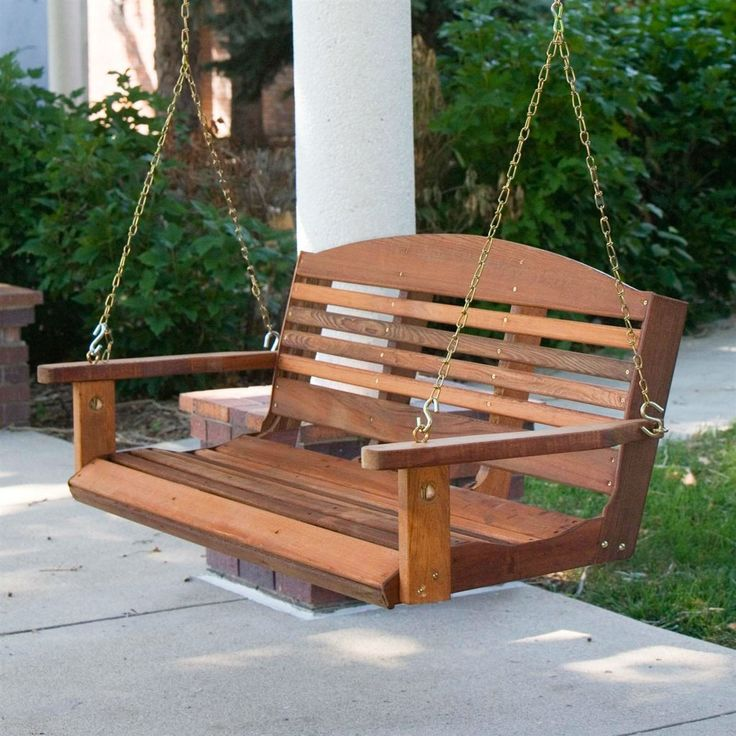 Classic 4 Ft Porch Swing In Red Cedar Wood Amish Made In