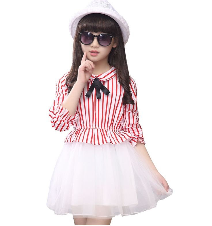 12.60$  Watch now - http://aliduh.shopchina.info/go.php?t=32692225867 - kids 2016 spring and summer Children short-sleeved striped clothes baby girl clothes 4 5 6 7 8 9 10 12 14 years old girls dress  #SHOPPING