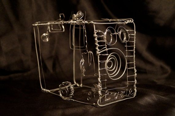 Wire Sculpture of an Old Box Brownie Camera by JaneTilleyWire