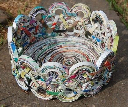 "recycled magazine pages using a ""rolling"""
