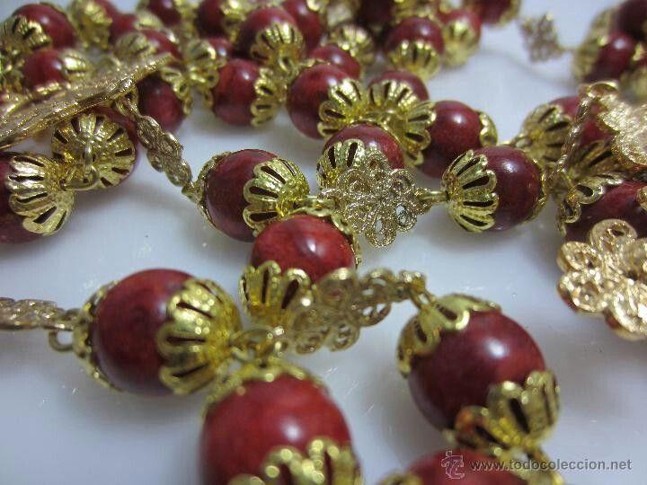 Rosario de coral. ...de filigrana de oro ....