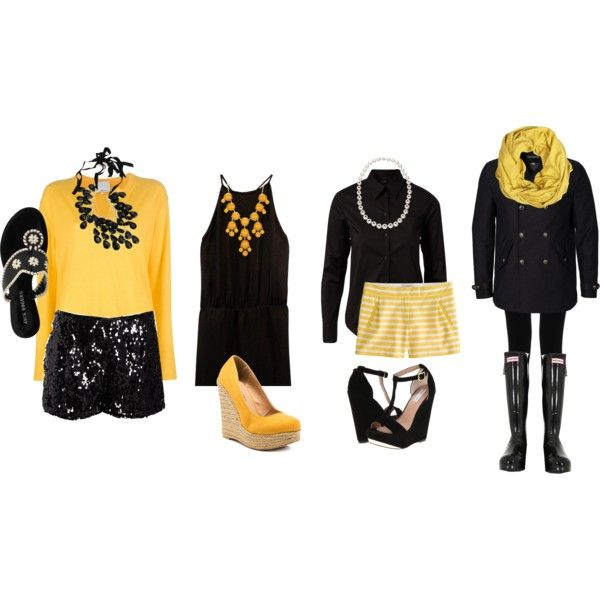 """Mizzou Game Day Outfits (Black and Gold)"" by l-woke-up-near-the-sea on Polyvore"