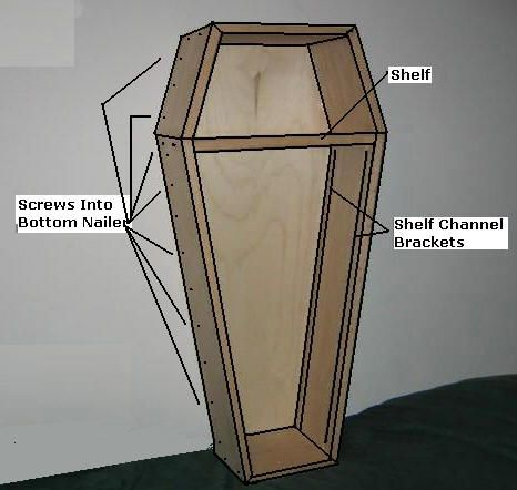 Free Coffin Plans - How to Build A Coffin - How to Build A Halloween Coffin Prop - Would make a killer coffin book shelf!