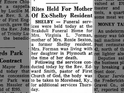 News-Journal (Mansfield, Ohio), Wednesday, May 27, 1959, p. 10. Obituary of Virgie Lee Phillips Forman.