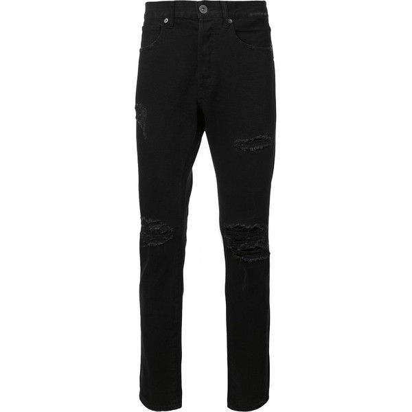 321 ripped detail jeans ($275) ❤ liked on Polyvore featuring men's fashion, men's clothing, men's jeans, black, mens destroyed jeans, mens torn jeans, mens distressed jeans and mens ripped jeans