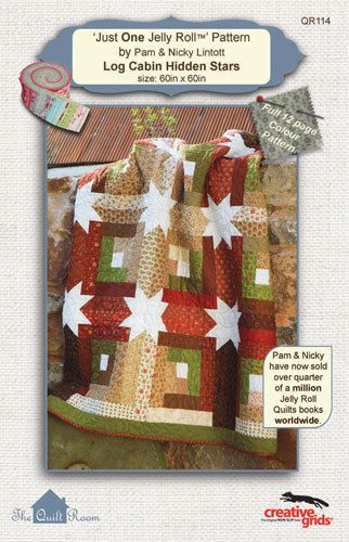 Quilt Pattern ~ LOG CABIN HIDDEN STARS ~ Just One Jelly Roll Pattern by Lincott #TheQuiltRoom