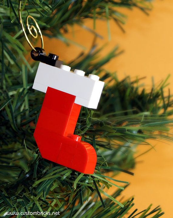 Red Stocking Christmas Tree Ornament made with by customBRICKS, $5.99