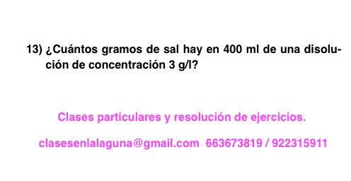 Ejercicio 13 propuesto de Concentración de disoluciones: gramo / litro