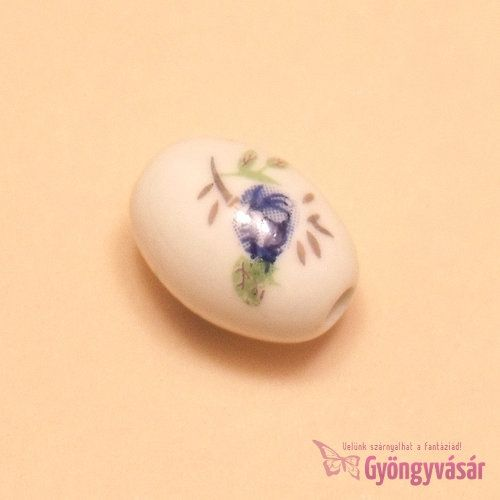 Kék rózsa - 18x12 mm ovális porcelán gyöngy • Gyöngyvásár.hu