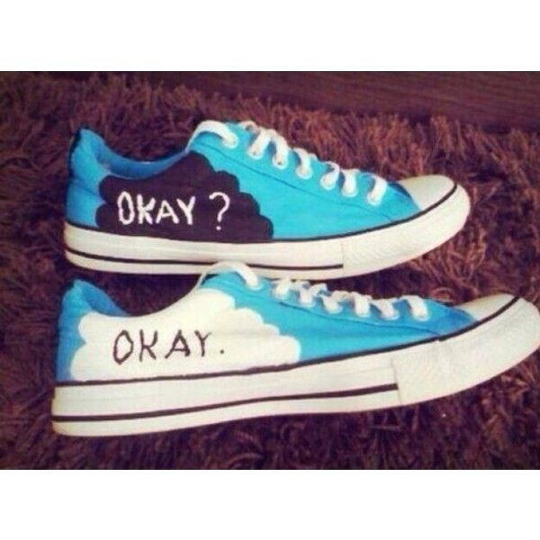 Shoes: the fault in our stars tenis converse okay okay blue white found on  Polyvore featuring polyvore, women's fashion, shoes, blue white shoes, ...