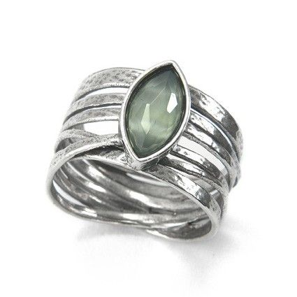 Silver Ring with Syn. Apple Ouartz