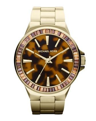 Michael Kors Mid-Size Golden Stainless Steel Gramercy Three-Hand Glitz Watch.