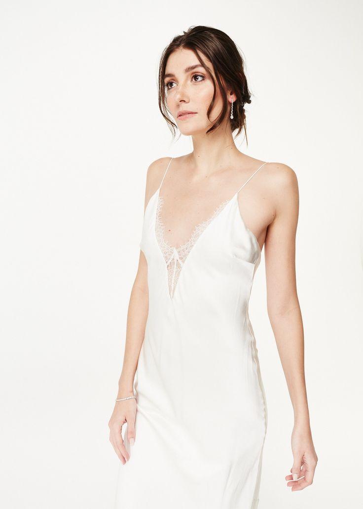 Colby white slip wedding dress white silk dress dresses