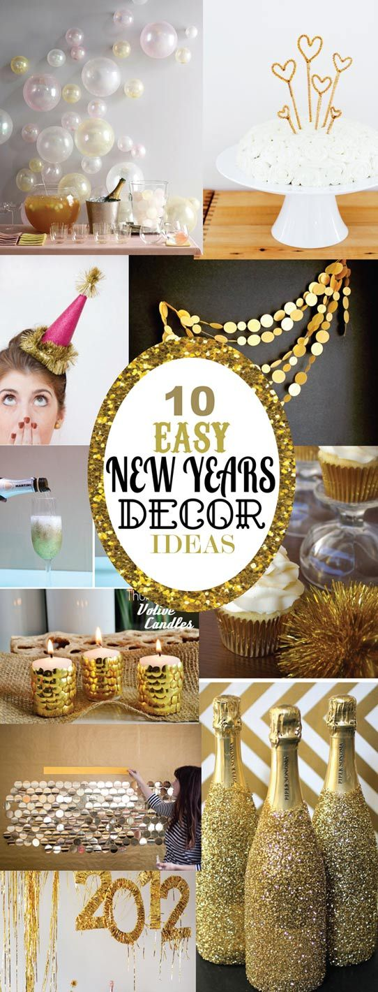 Deoration für Silvesterparty zu Hause, Gold >> 10 Easy DIY New Years Eve Decorating Ideas for your home, party or just for fun! {SohoSonnet Creative Living}
