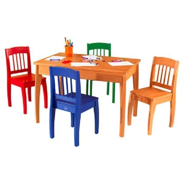 Kids Study Table And Chair Set Wood Modern 4 Chairs Activity Boys Girls Colorful #KidKraft