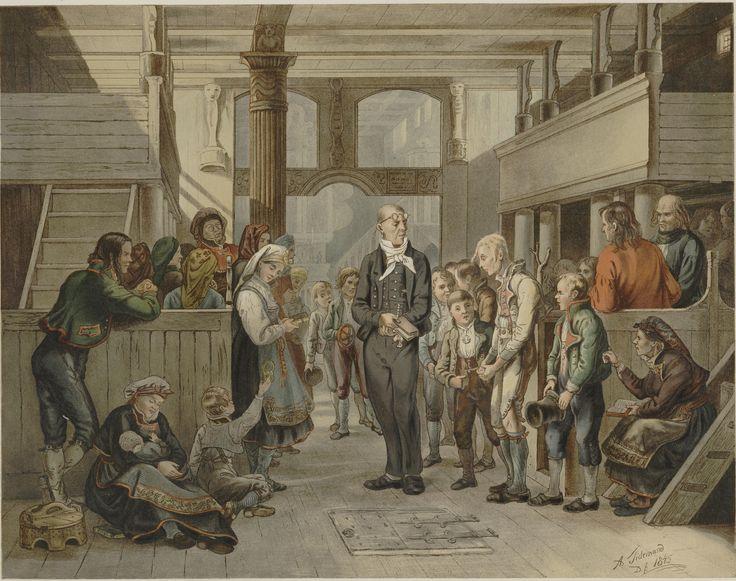 Norske Folkelivsbilleder - Adolph Tidemand - En Catechisation (Konfirmasjon) (1845). jpg (5214×4119)