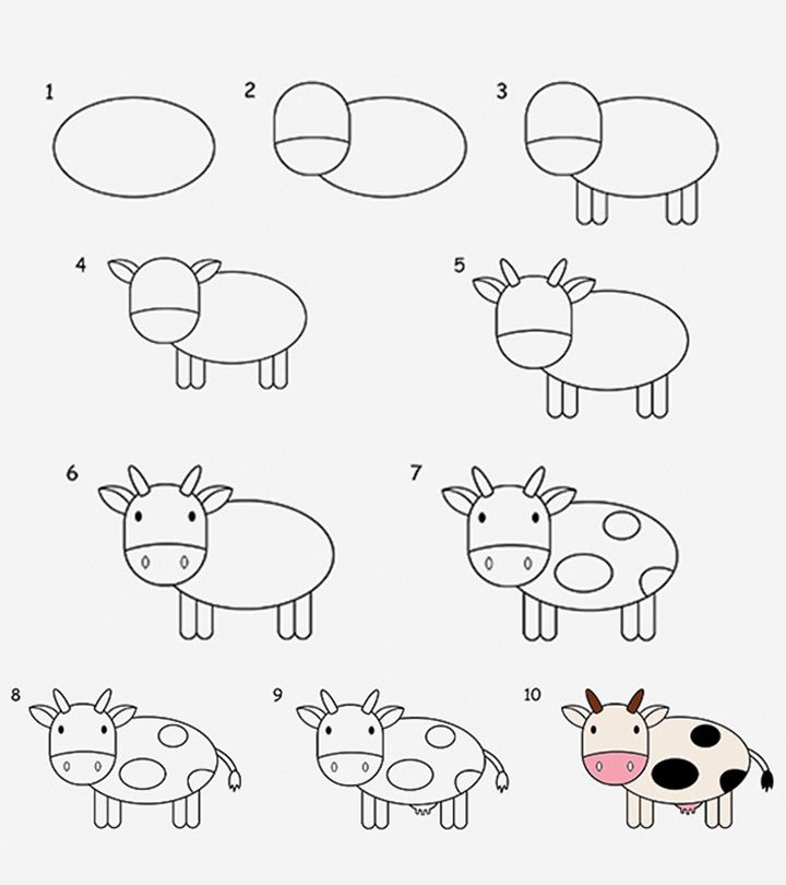 2 Easy Tutorials On How To Draw A Cow For Kids Easy Animal Drawings Easy Drawings For Kids Drawing Tutorials For Kids