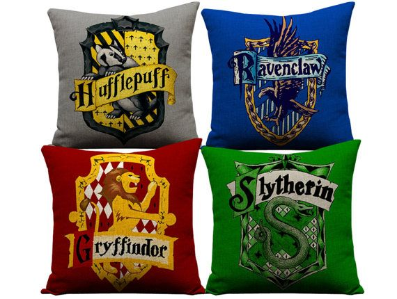 Harry Potter pillows, slytherin, ravenclaw, hufflepuff, harry potter, hogwarts, potter throw pillow, harry potter house pillow case, potter