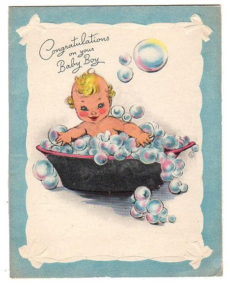 Baby Boy in Bubble Bath Vintage 1940s Congratulations Baby Foil Greeting Card Used