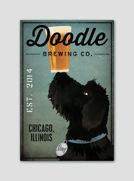 Black Doodle FREE CUSTOMIZATION Labradoodle Brewing Company Beer Sign Gallery Wrapped Canvas Wall Art Ready-to-Hang Doodle
