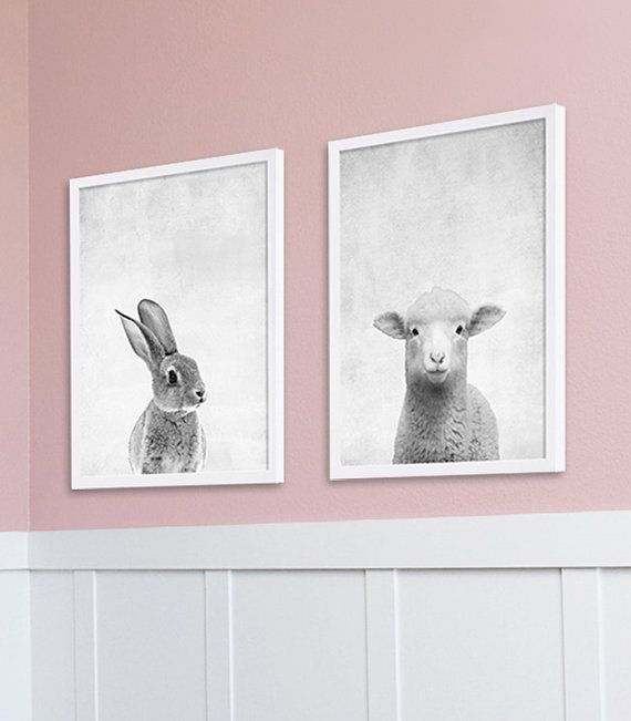 Animal Nursery Prints Girls Room Art Baby Animal by CocoAndJames