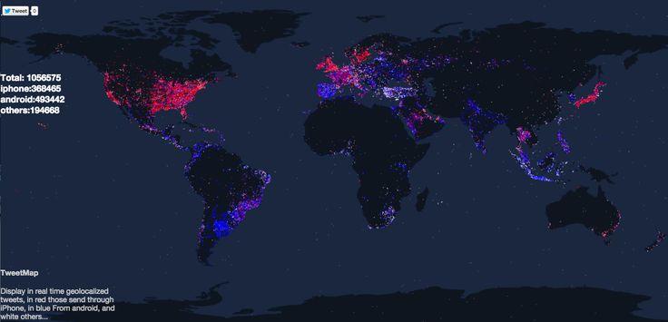 Mapa mundial de tweets mostrando quien usa iOS vs Android / Norte vs Sur
