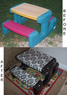 I always see people throwing out these tables - but I've never taken one because they get sun damaged, etc! What a GREAT idea! You could use oil cloth so that the fabric can be wiped - even outdoor fabric with UV protection! Love!  Plastic kid picnic table redone.  Fabric, vinyl, spray paint