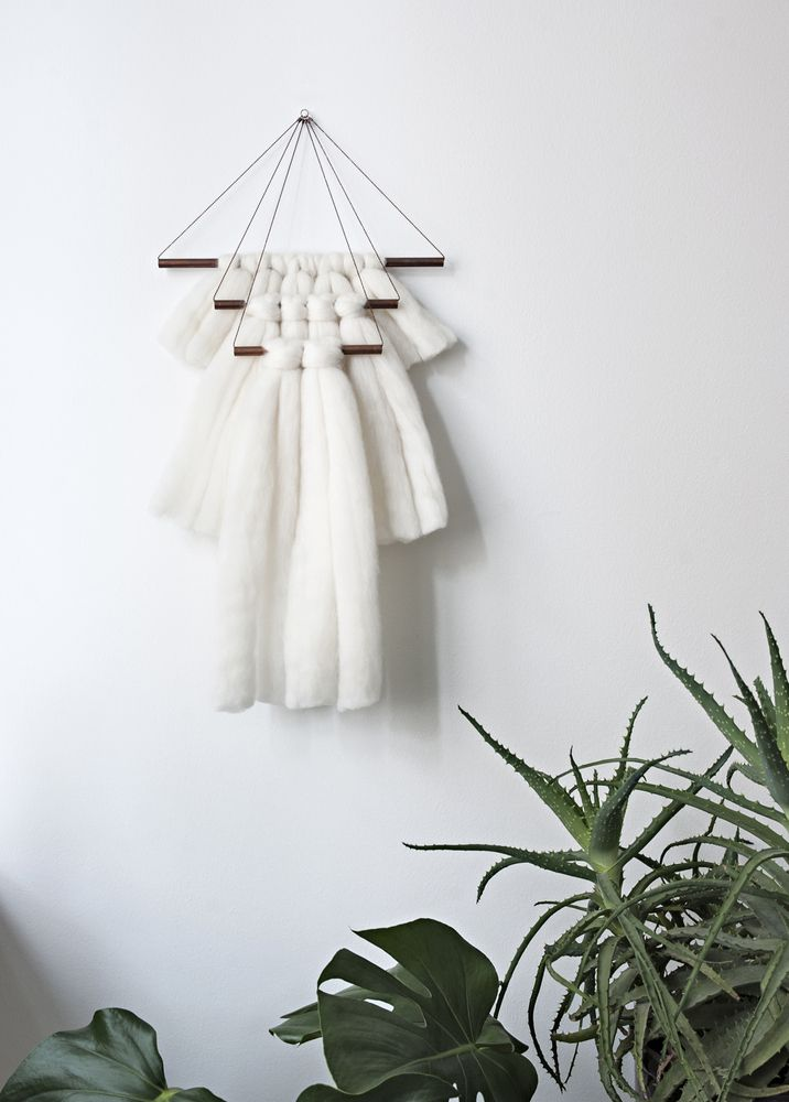 Handmade wallhanging. Made from dyed wool and copper. The dye used for wool is öko tex standard 100 certified, and free of heavy metals.Measures 30 x ca 56 cm