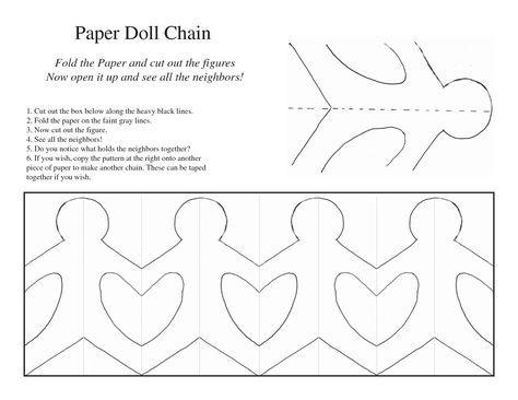 Paper Doll Chain Template embleem Paper doll chain, Paper dolls