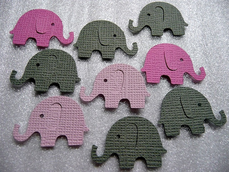 60 grey pink elephant die cuts baby shower for Decoration or embellishment crossword