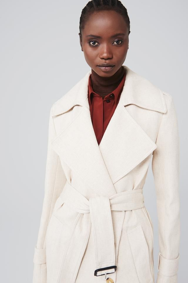 70s Trench Coat In Natural, Trench Coat Buckle Collar