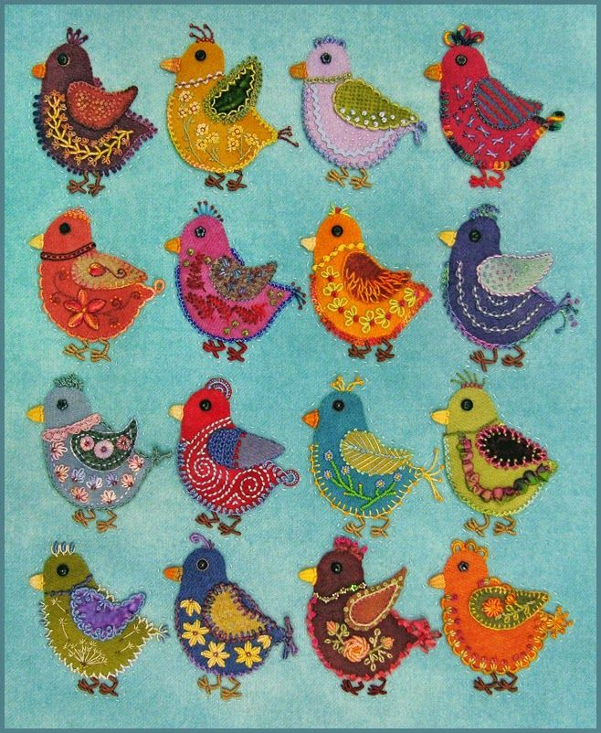 Robin Atkins embroidered, wool applique chicks, in quilting process