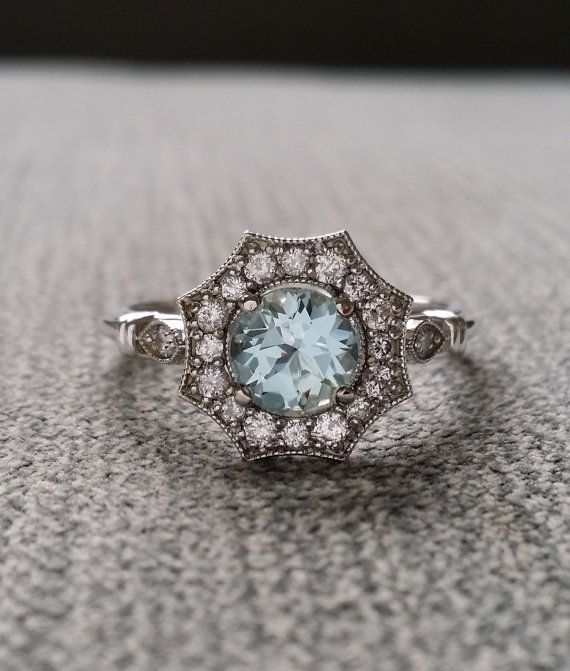 "Halo Aquamarine and Diamond Ring Gemstone Engagement Ring Antique Flower Estate Octagon Blue Art Deco  14K White Gold Vintage ""The Elsa"""