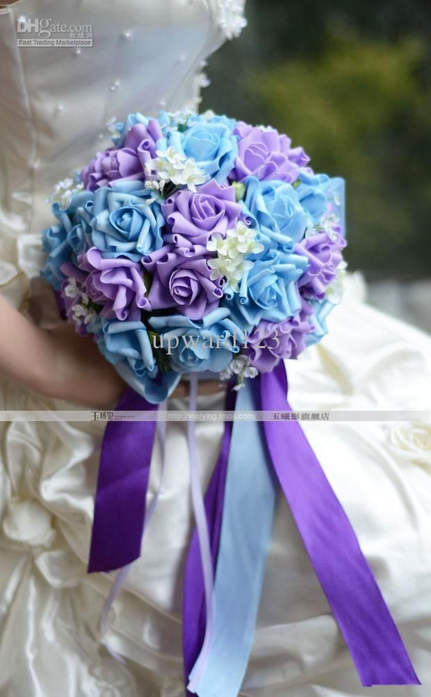 Light Blue And Purple Wedding Flowers Bouquet New Style Handflower