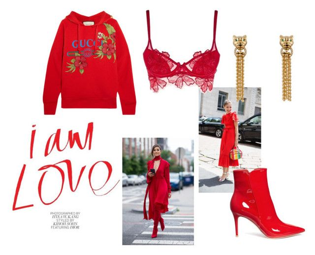 red. by paula-wallin on Polyvore featuring Gucci, Agent Provocateur, Gianvito Rossi and red