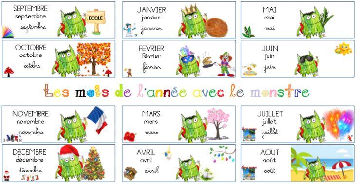 Les mois de l'année : Le monstre des couleurs va à l'école